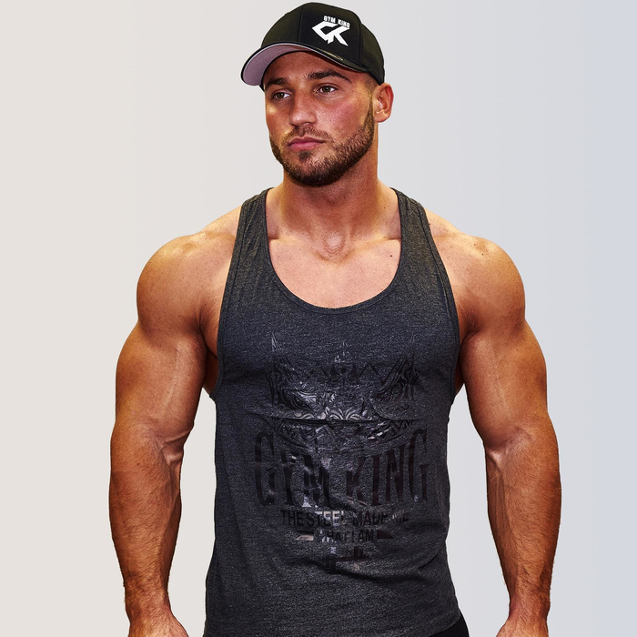 Gym King Stringer Tank Top Bodybuilding Tank Charcoal S