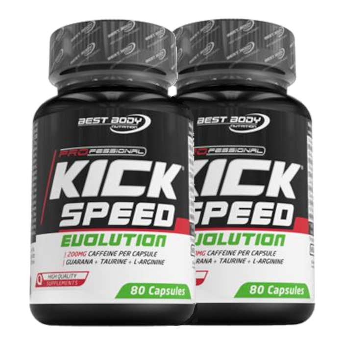 (16,96 Eur/ 100 G) Best Body Kick Speed Evolution 2 x 80 Capsules Can