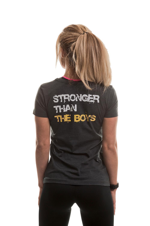 Golds Gym Stronger than the Boys Damen T-Shirt Grau Fitness Größe XS-L