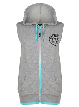 Golds Gym Ladies Muscle Joe Sleeveless Hoodie Womens Grey...