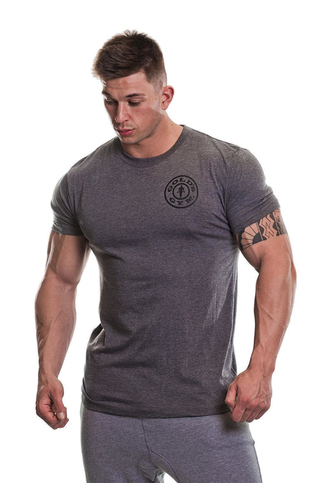 Golds Gym Basic Left Breast Shirt Cotton Bodybuilding Fitness Mens