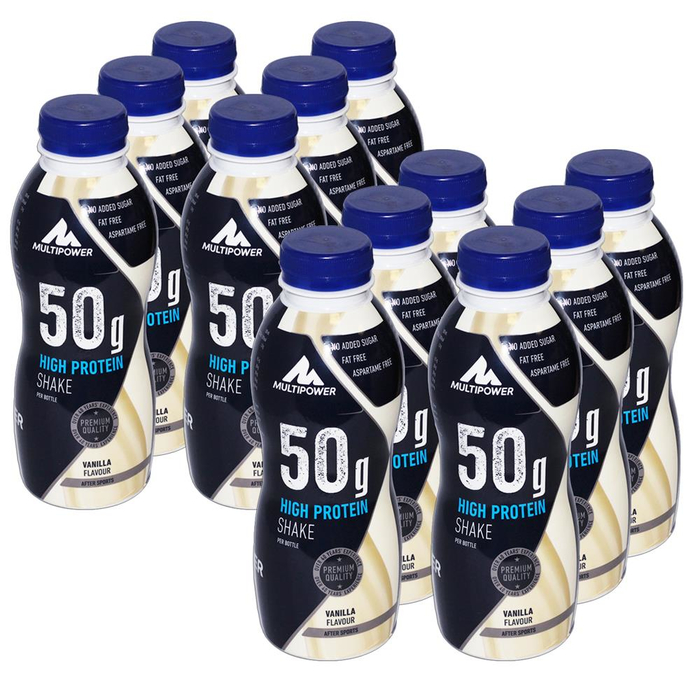 Multipower 50g High Protein Shake 12 x 500ml Flasche Pack