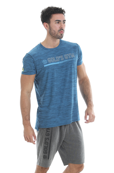 Golds Gym Crew Neck Performance T-Shirt Blue Marl