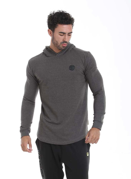 Golds Gym Long Sleeve Hooded Sweathshirt Charcoal